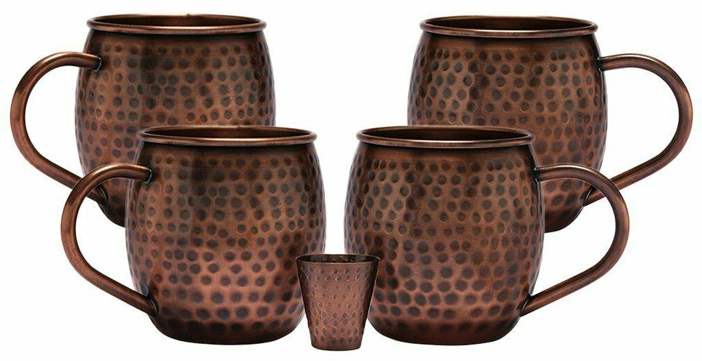 Moscow Mule Mugs Cups Set 4 Gift Drinking Solid Hammered