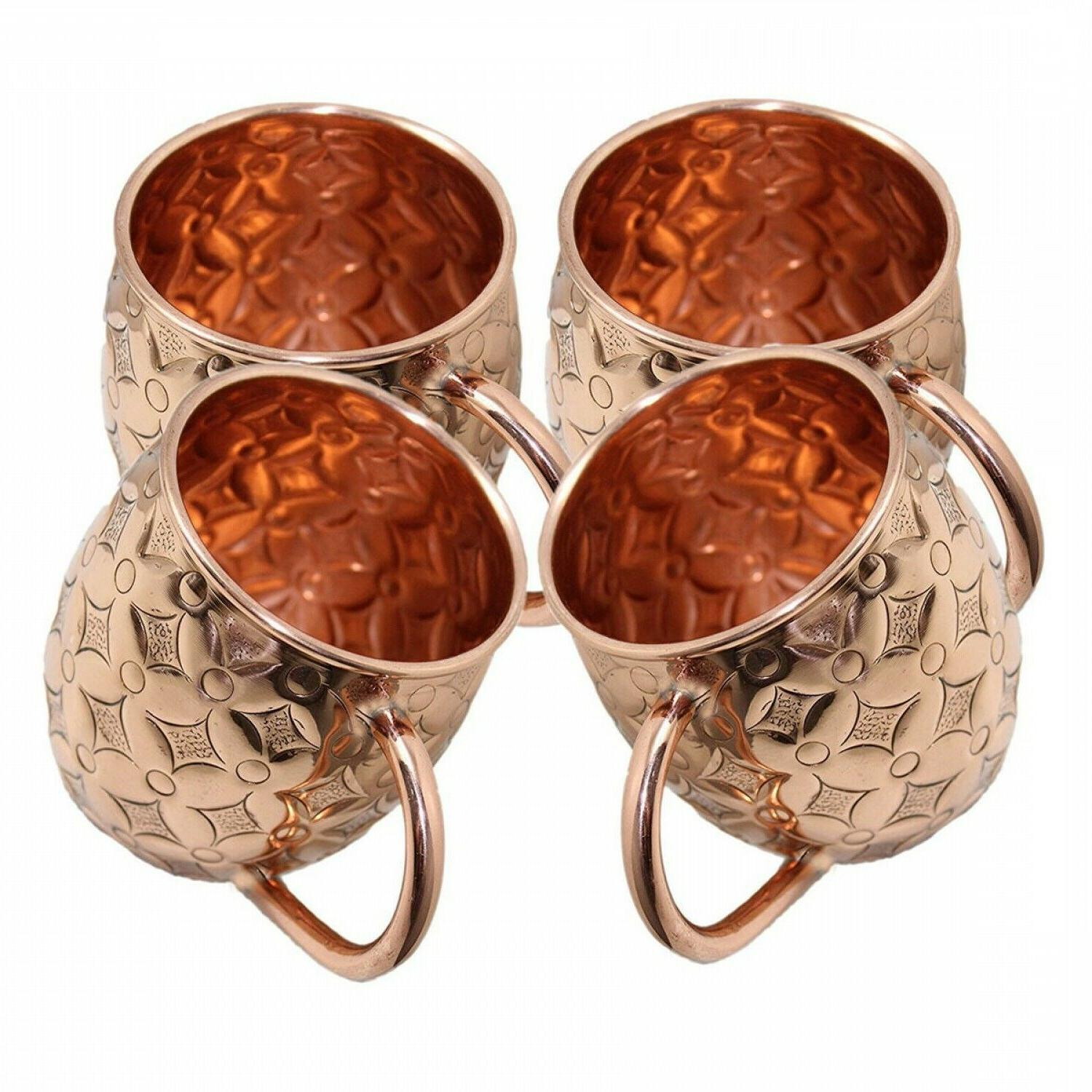 Moscow Mule Copper Mugs Cups Set of 4 16Oz Gift Drinking Bar