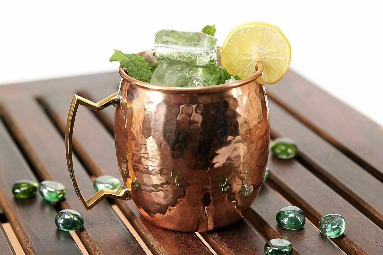 New 2 Moscow Mule Mugs Hammered Copper Brass 16 Ounce Bar 2