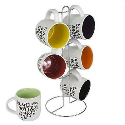 Home Basics 6-Piece Mug with Coffee Stand