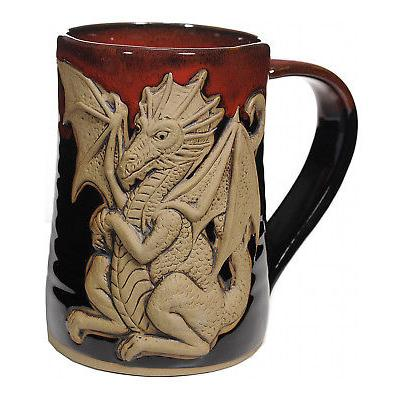 "MUGS - ""FEROCIOUS DRAGON"" HANDMADE POTTERY MUG - RED ON BLAC"