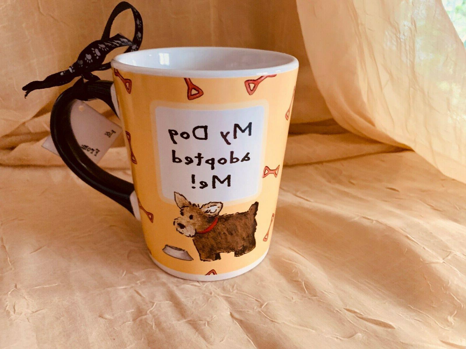 TUMBLEWEED MY DOG ADOPTED ME COFFEE CUPS MUG NEW OUNCES STONEWARE