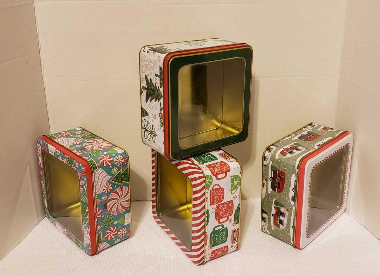 nesting holiday gift boxes with window lids