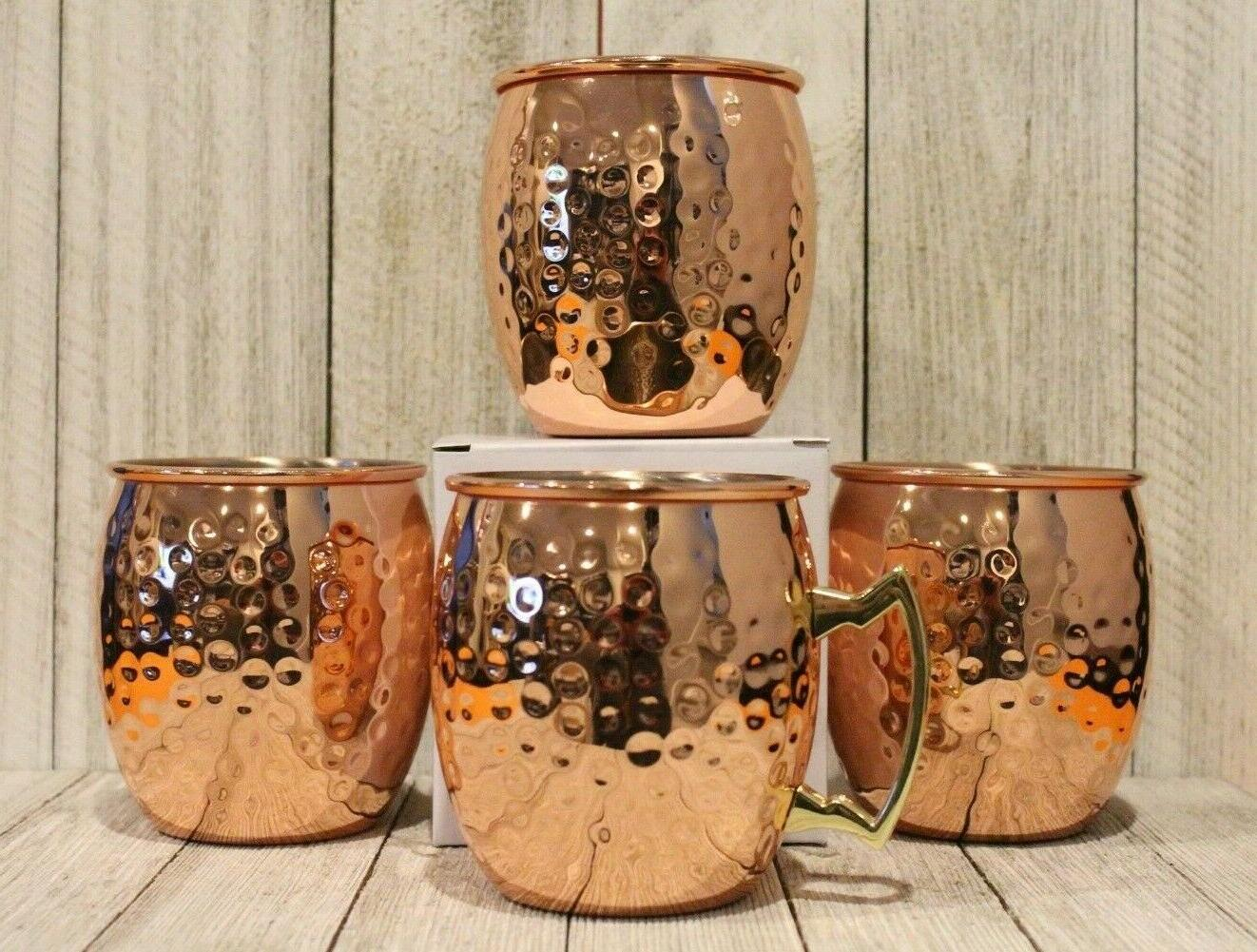 New 4 Moscow Mule Mugs Hammered Copper Brass 16 Ounce oz 500
