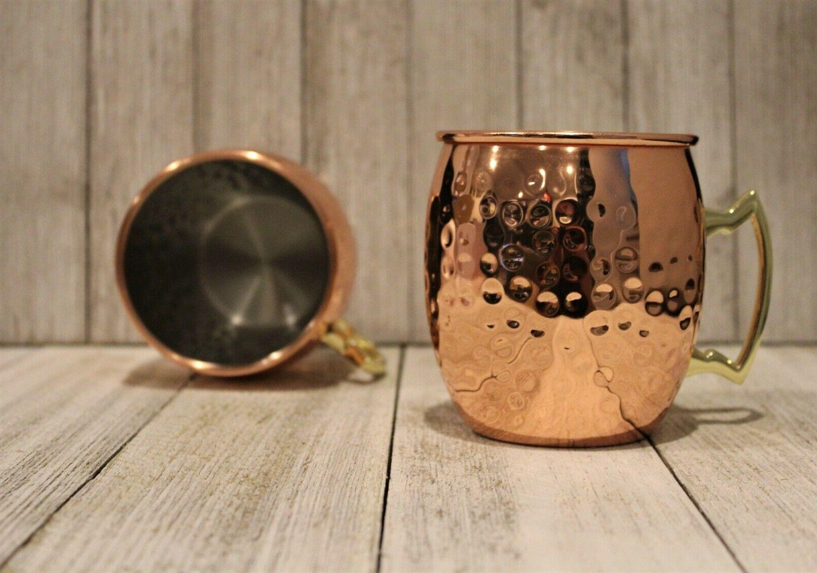 new 4 moscow mule mugs hammered copper