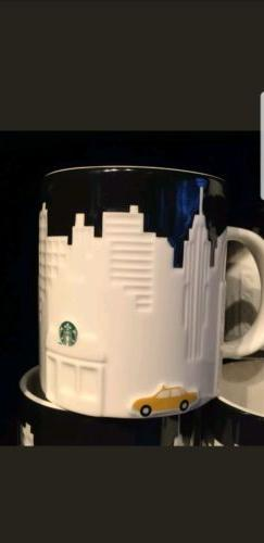 New Starbucks Coffee New York City Embossed TAXI Relief Mug