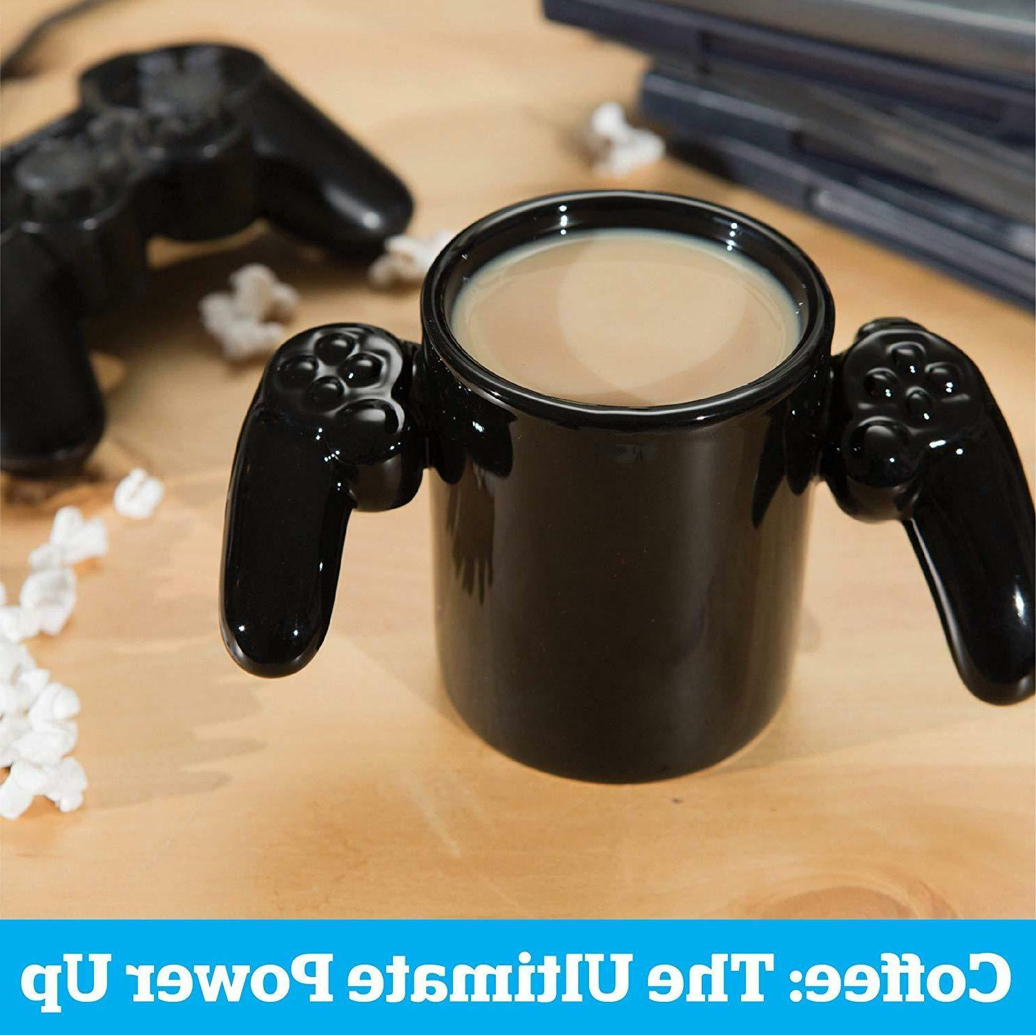 New Over Video Controller Cup Black Ceramic Novelty Gamer Gift