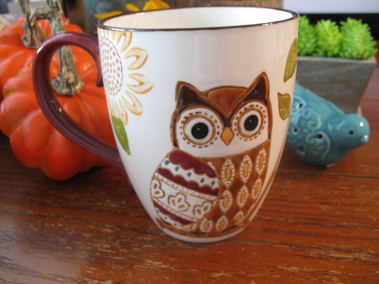New Lg Harvest Farmhouse Artisan Collection Owl & Sunflowers