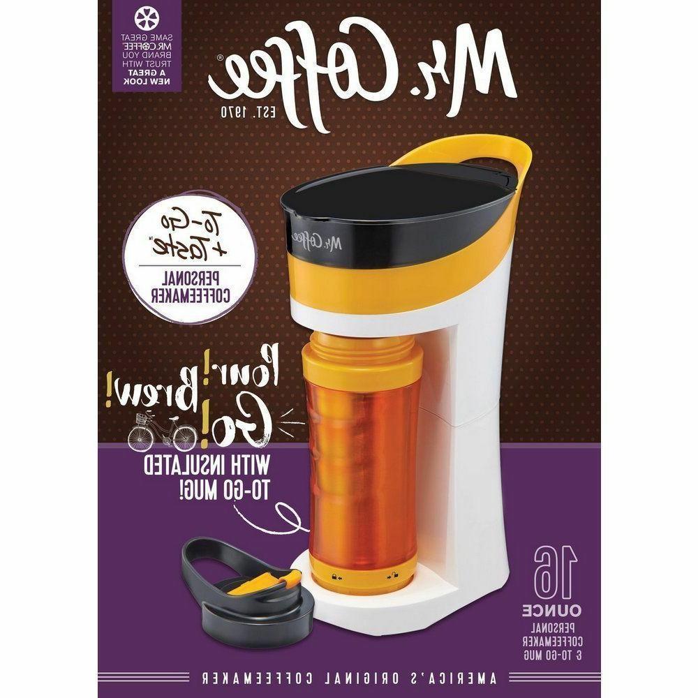 New MR. COFFEE To-Go + Taste 16 oz Personal Coffeemaker Insu