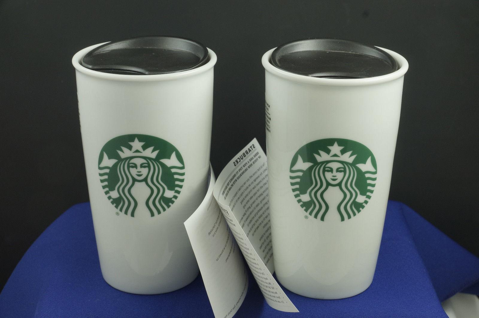 NEW!  Two Starbucks White Ceramic Travel Mugs/Cups w/Lids 12