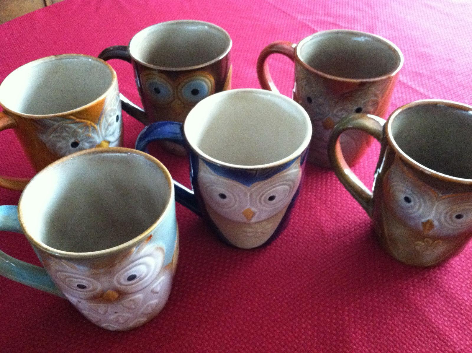 NWOT Set of 6 Elite Couture Gibson Owl Ceramic Coffee Tea Mu