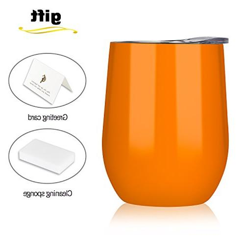 orange wine cup stemless stainless