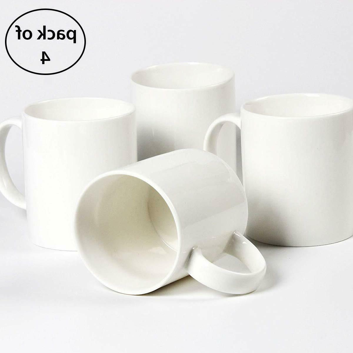 pack of 4 plain gloss white ceramic