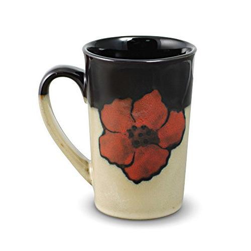 painted poppies latte mug