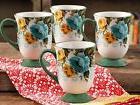 Pioneer Woman Rose Shadow 18 Oz Latte Mug Cup, Set of 4, Dis
