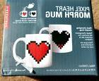Kikkerland Pixel Heart Heat Color Changing Morph Mug Coffee