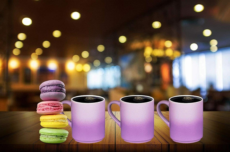 Bruntmor Ceramic Mugs Set 6 Large sized OZ Gradient Purple