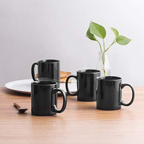 YHY 12 oz Porcelain Mugs Tea and Coffee, Set 6, Black