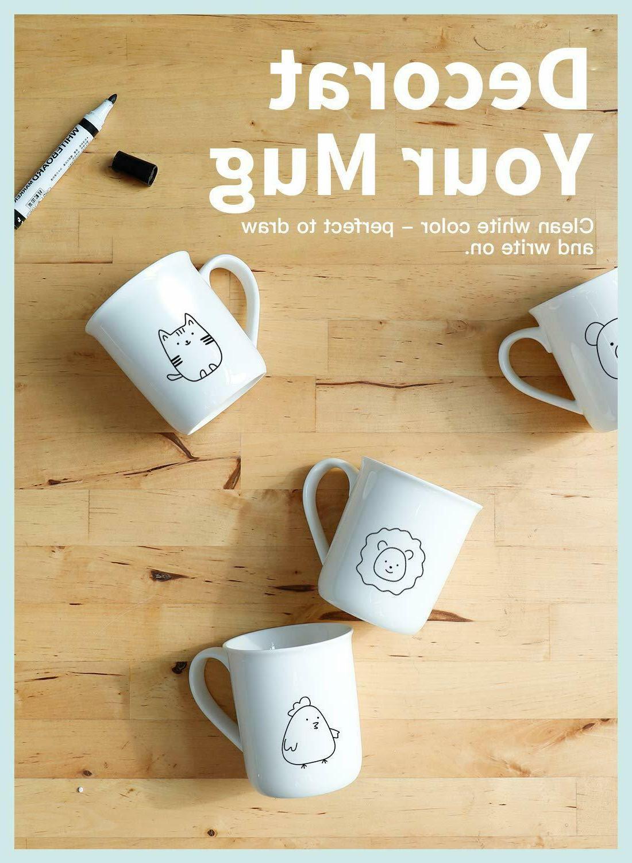 Porcelain Mugs, Coffee Set - 12 for Latte, White Set 6