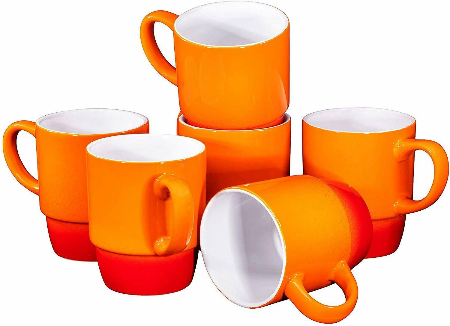 porcelain stackable coffee cups mugs set of