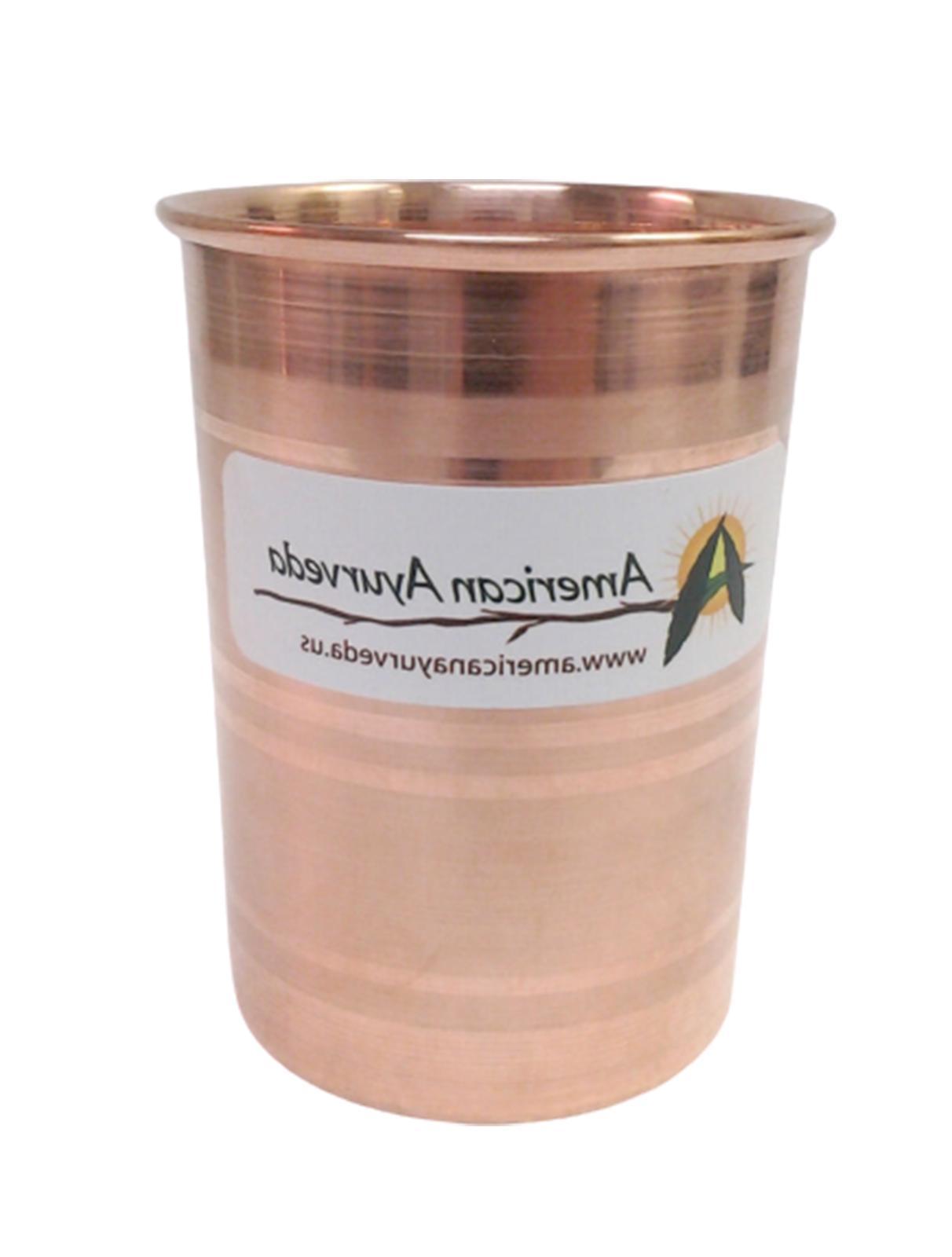Pure Copper Cup 8 Oz Tumbler Glass Mug Holistic Health Yoga