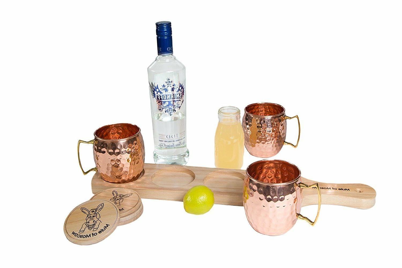 Pure Copper Mule Mug Gift with Mugs 4 Coasters