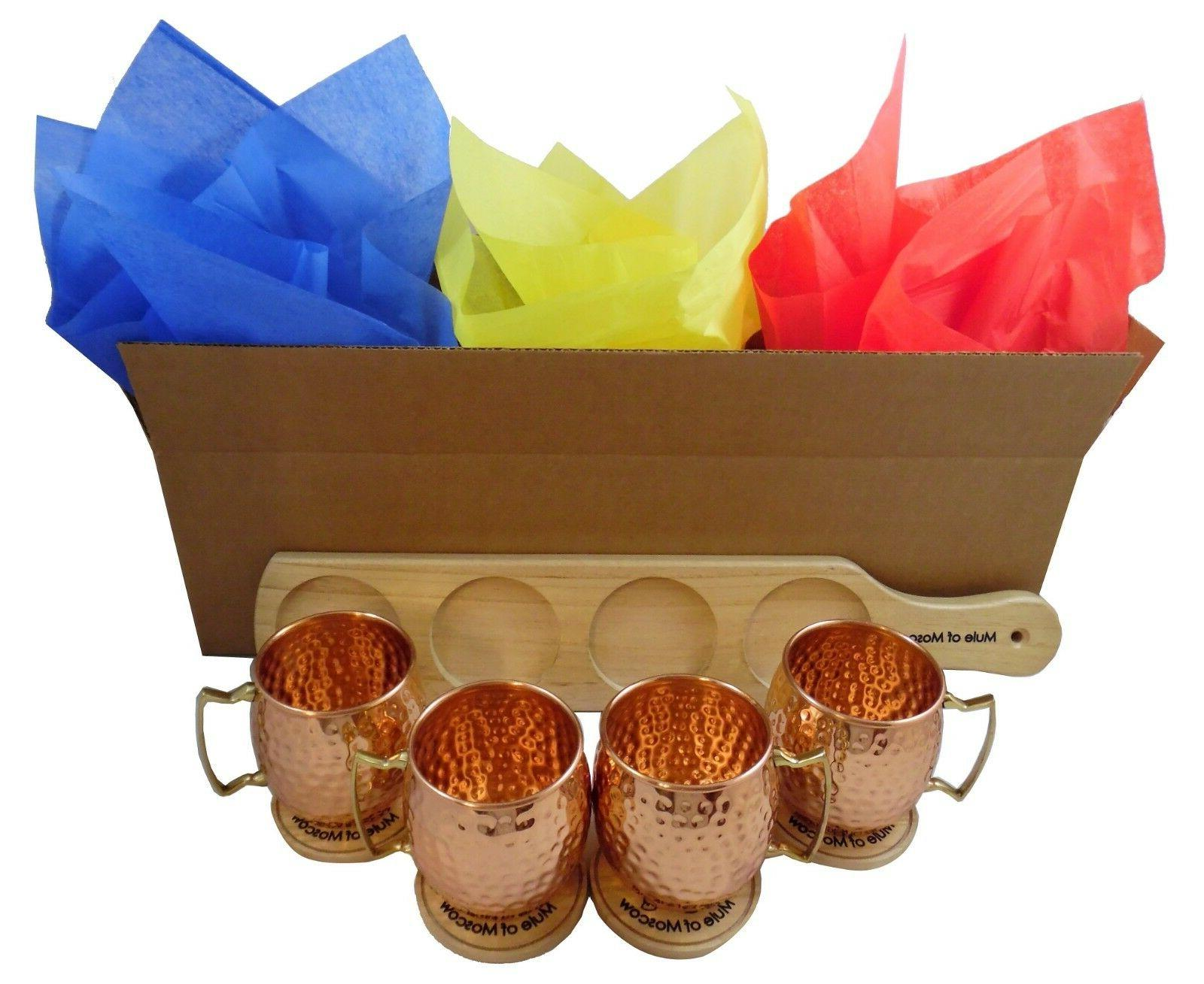 Pure Copper Hammered Mule Mug with 4 4 Coasters Tray