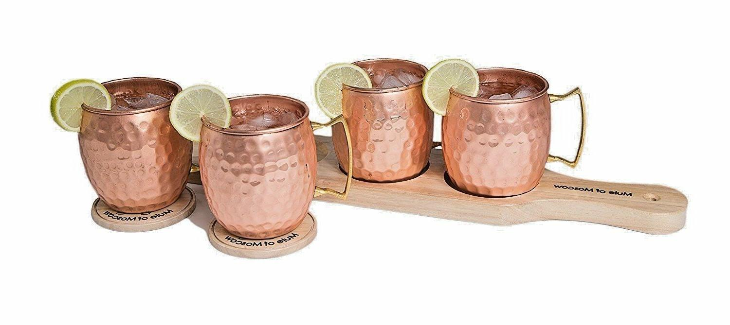 Pure Hammered with 4 Mugs 4 Coasters + Tray