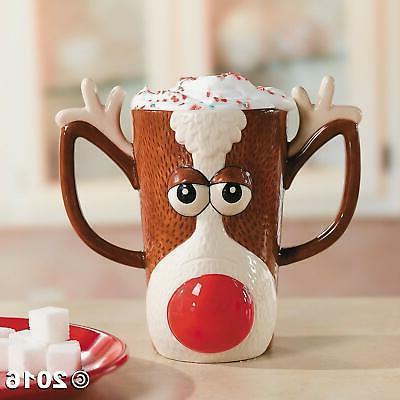 reindeer face holiday mug