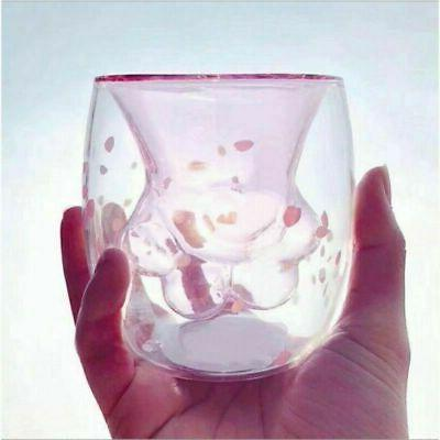 Sakura Paw Glass Cup Mug Insulated US