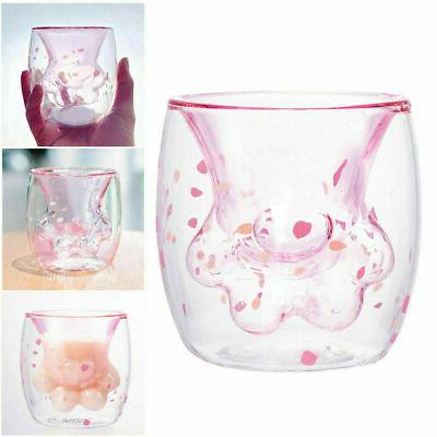 Sakura Cat Cup Coffee Pink Mug Doubl Wall Insulated Cup