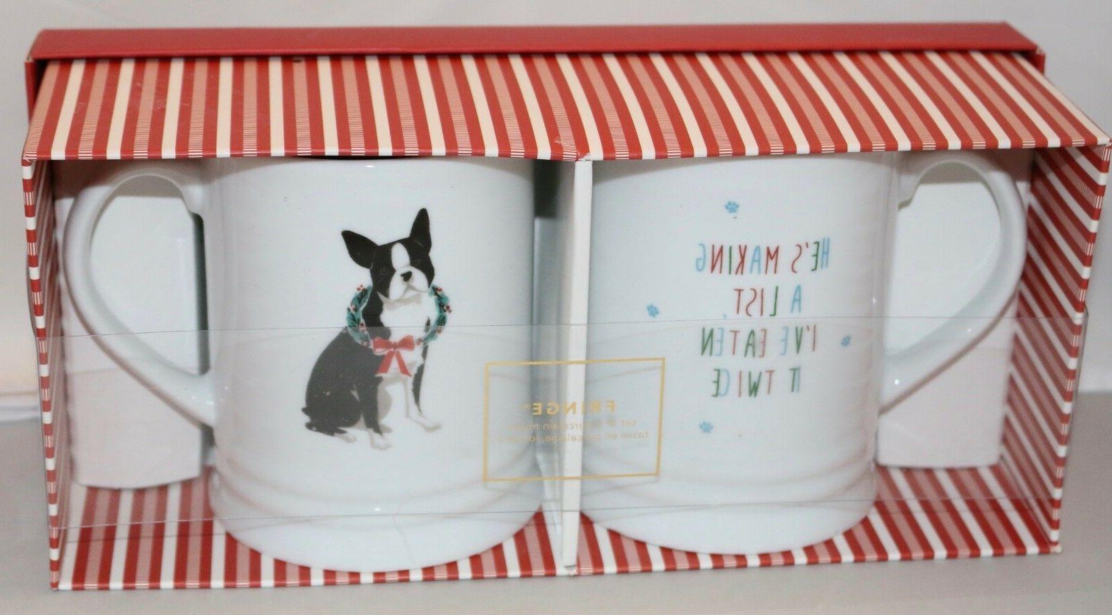 set 2 boston terrier mugs new holiday