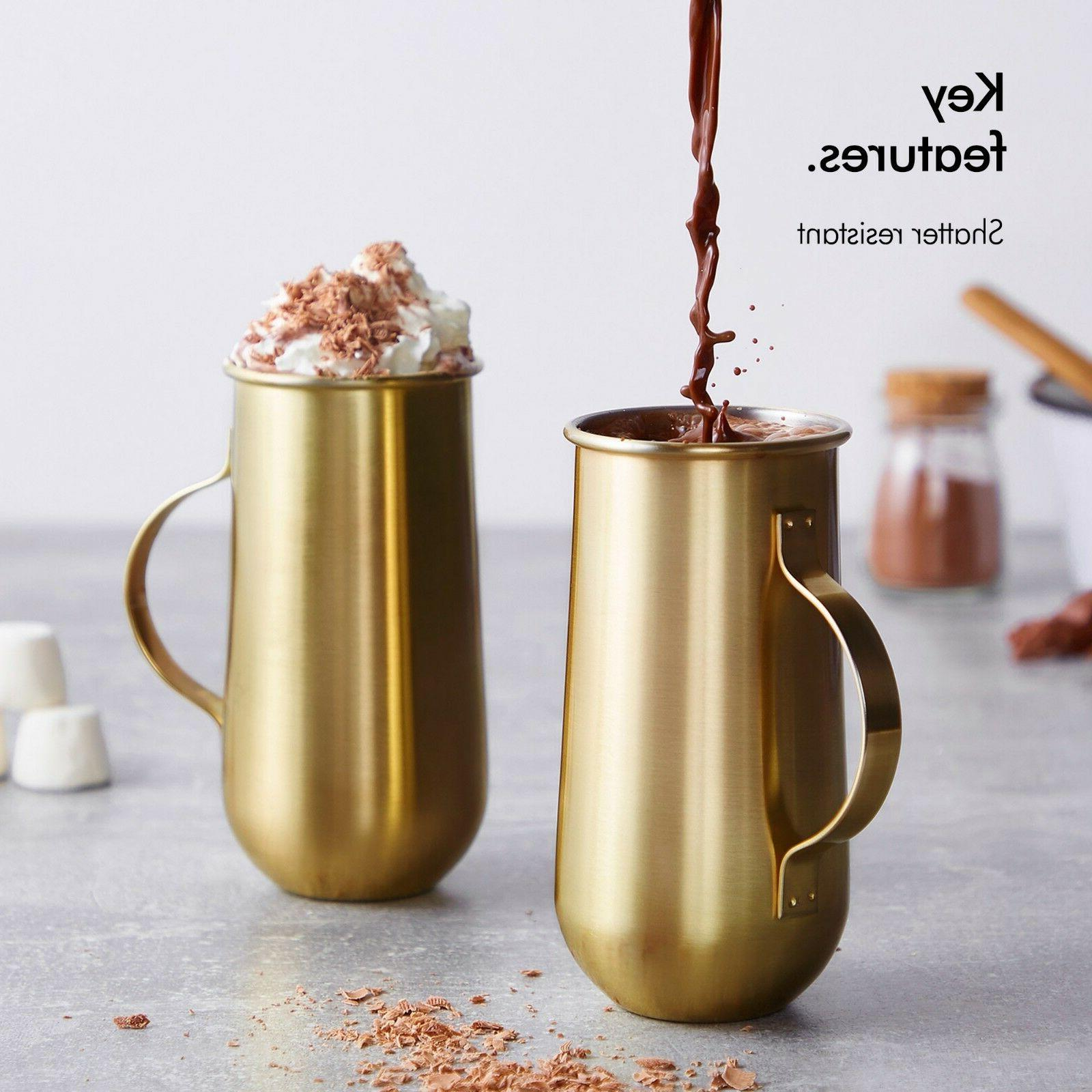 VonShef Gold Mugs - 16oz - Gift Boxed
