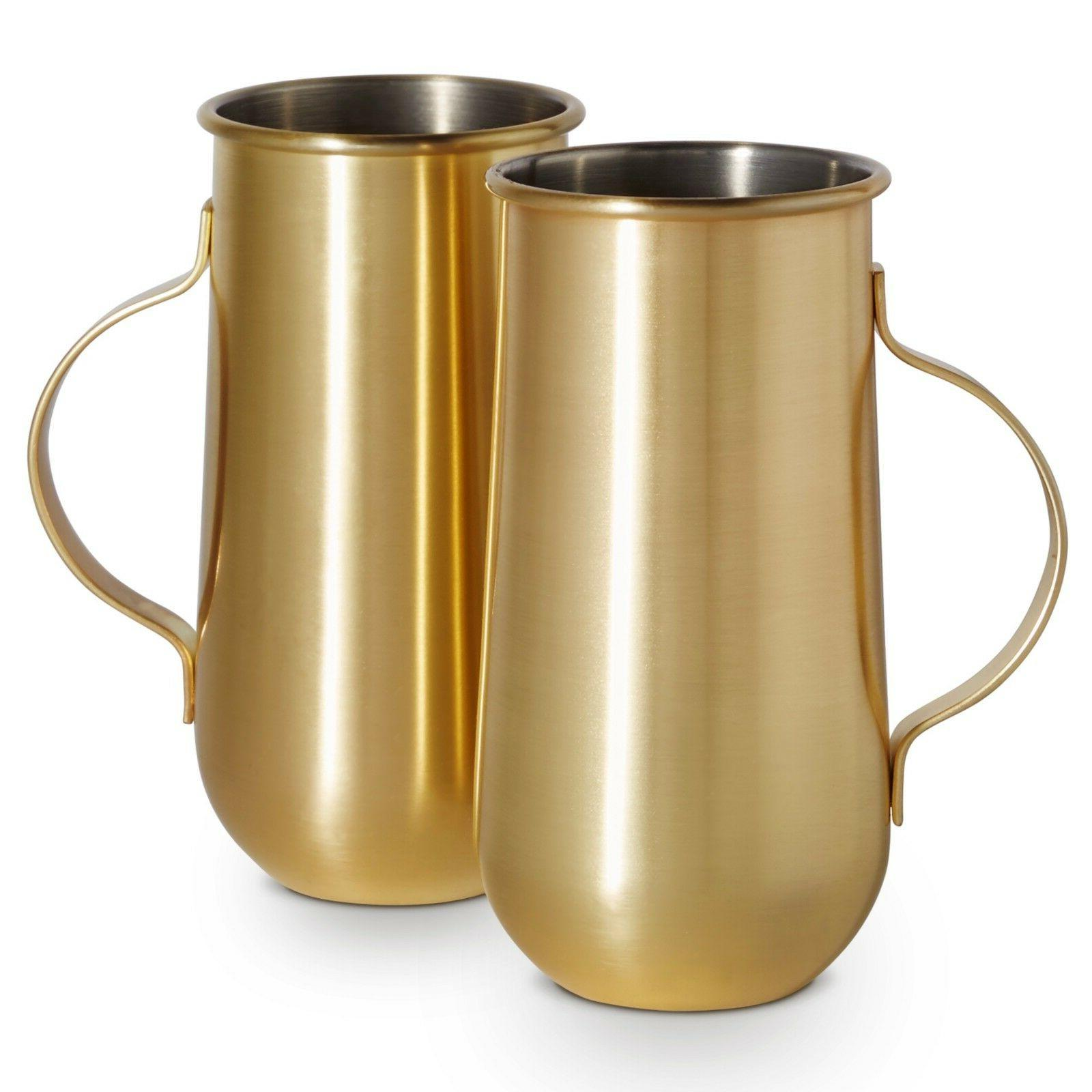set of 2 gold mugs with handle