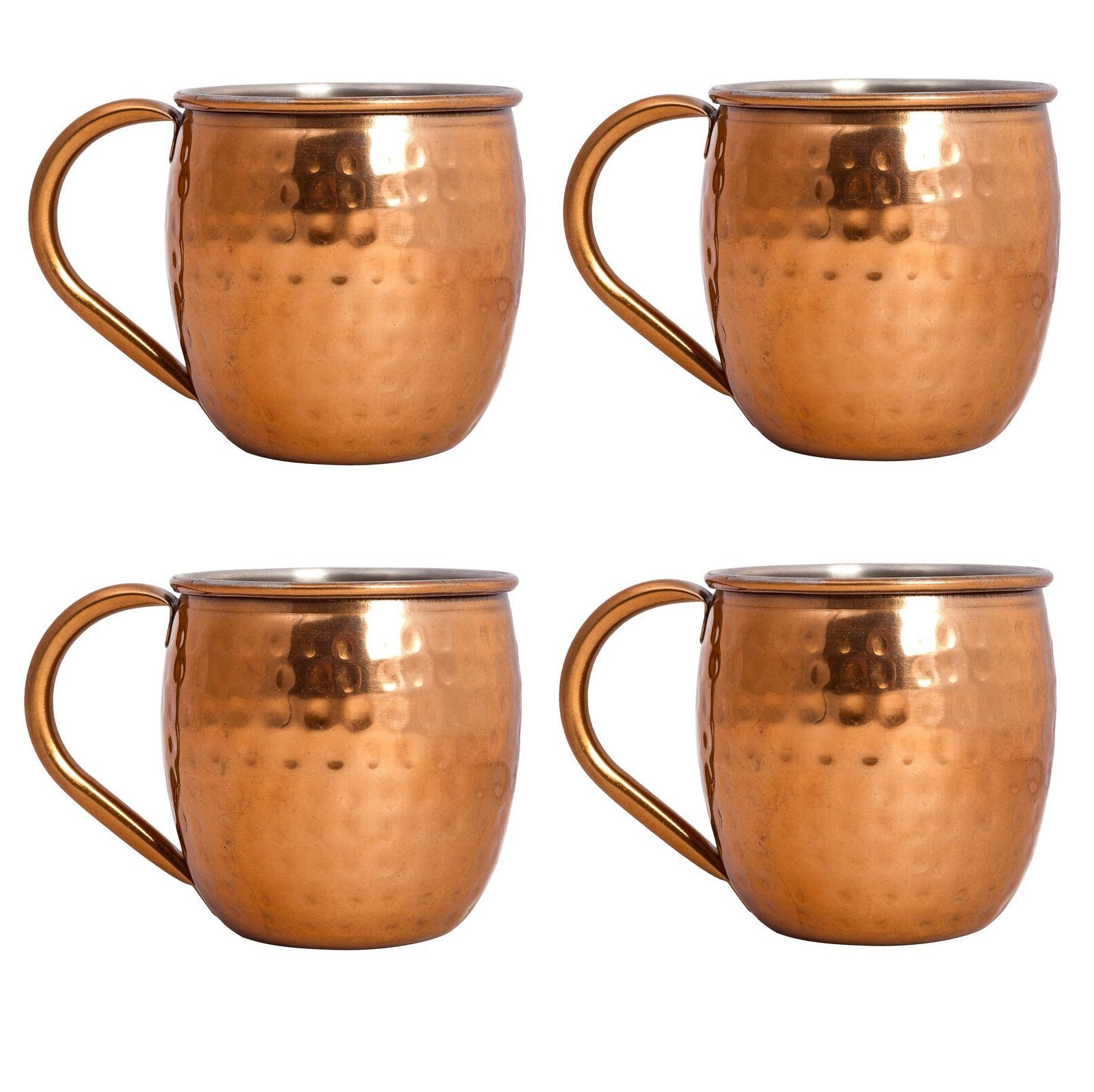set of 4 moscow mule copper mugs