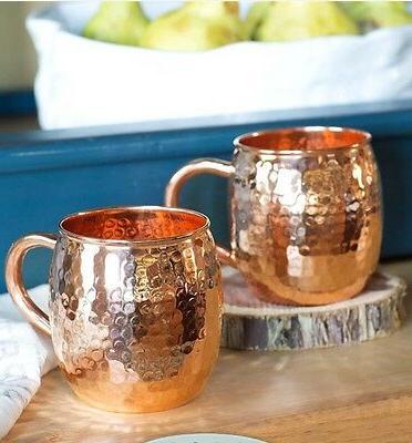 Set Moscow Barrel 16 oz Copper Cups