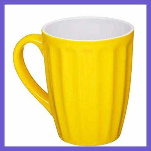 Set LARGE Sized 16 OZ Ceramic Coffee Grooved Mugs Color