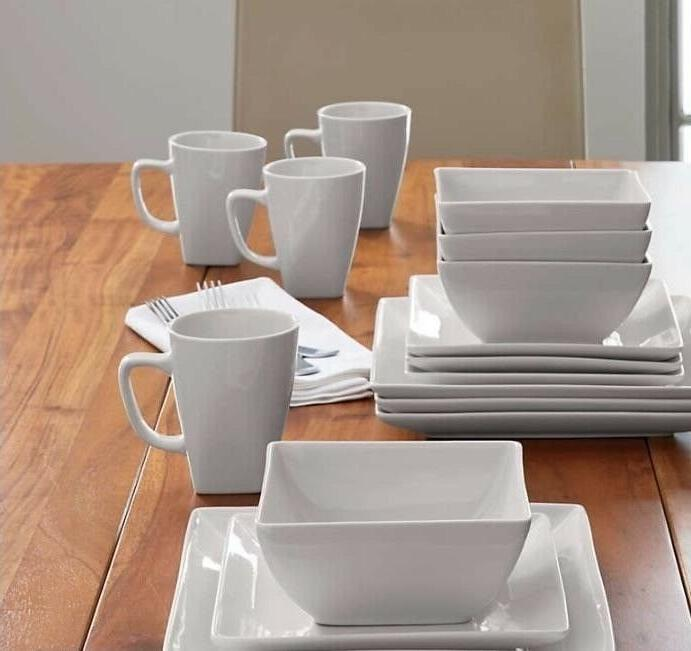 Crate & Barrel Set of 8 White Mugs