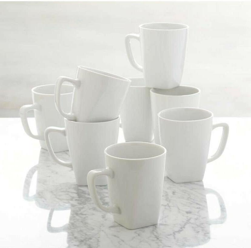 set of 8 white coffee mugs 12