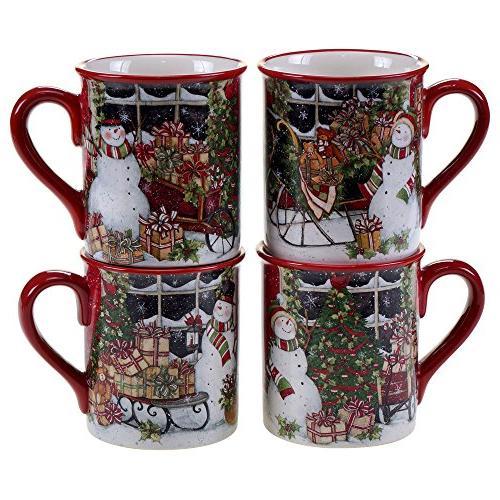 snowman sleigh winget mugs