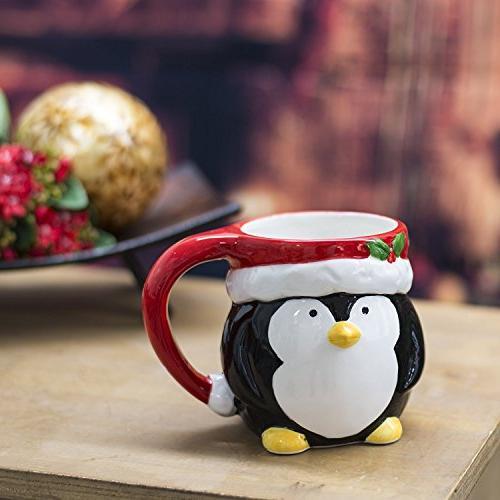 Set 4 Gingerbread Penguin Holiday Coffee Mugs