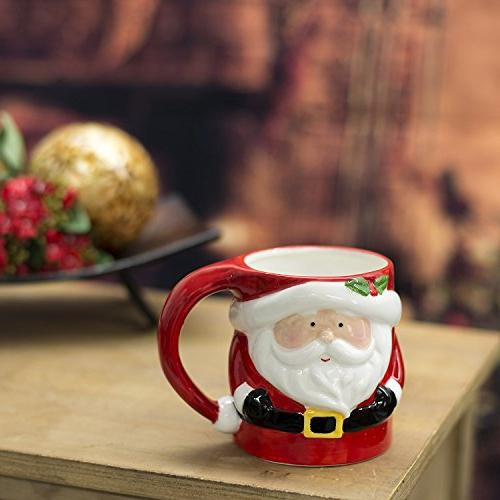 Set of Gingerbread Man, Penguin ounce Ceramic Holiday Coffee Mugs