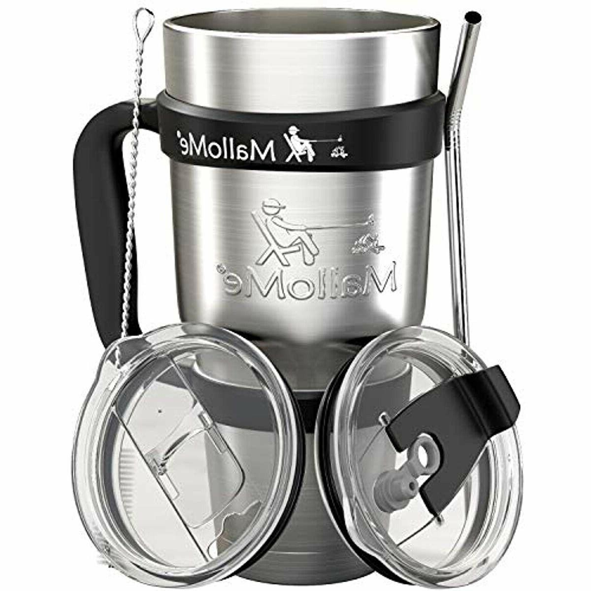 MalloMe Stainless 30 Insulated Coffee Cup Travel with 2