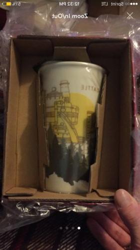 Starbucks SEATTLE Ceramic Tumbler Travel Cup Mug 12 oz 2015