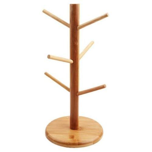 Tree Mug Holder Stand Tea Storage Wooden Display J