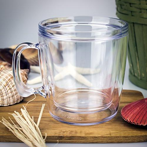 Set Tumbler Plastic Double-wall 12 Ounce Clear