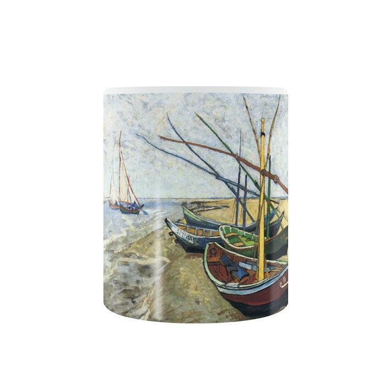 Vincent van Fishing boat Saintes la Mer <font><b>Mug</b></font> Ceramic Cup Creative Gifts 11oz GA1399
