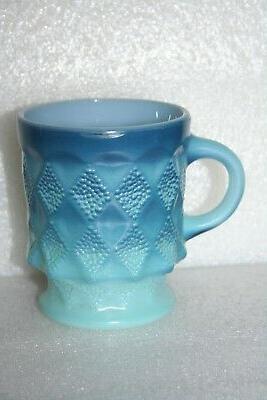 Vintage Fire King Hocking Blue Diamond Coffee Glass