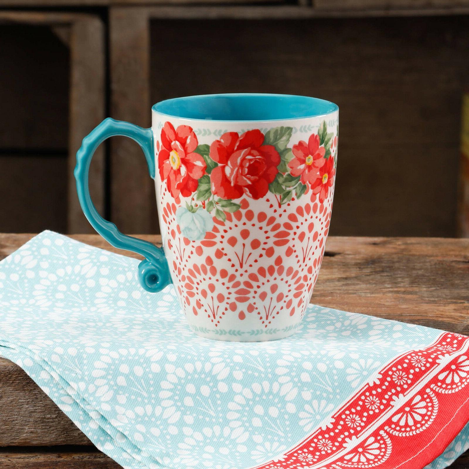 The Pioneer Woman Vintage Floral 28-Ounce Teal Jumbo Latte M