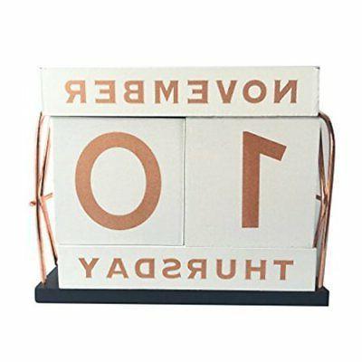 vintage wooden block perpetual calendar